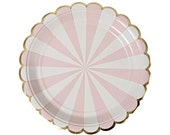 Dusty Rose Pink Stripe Small Plates - Pink and Gold Plates - First Birthday Plates - Baby Shower Plates - Bridal Shower Plates