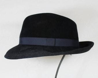 Classic Men's Fedora in Black Velour Felt ~ Bogart ~ teardrop crown, classic menswear ~ handmade by Bonnet, your local Portland millinery