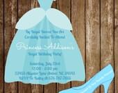 Cinderella Disney Princess  Birthday Dress Invitation Download + Cutout