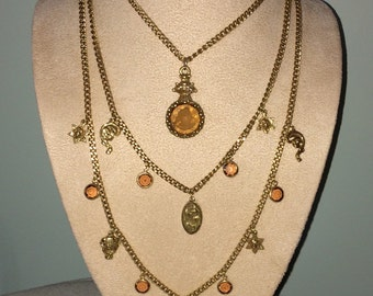 Early, Rare Variation ~ Vtg Goldette Three-Strand, Gold-Chain Intaglio Pendant Necklace, Signed