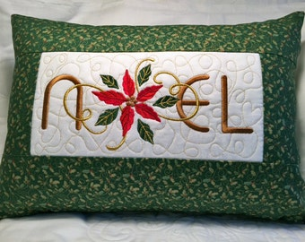 Noel Embroidered Christmas Pillow