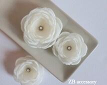 Ivory hair flowers, Ivory Bridal fabric hair clips, Ivory Bridesmaids dress sash brooch, Flower girls hair pins, Handmade Wedding Ornaments