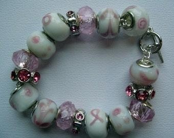 Pink & White Big Beaded Bracelet
