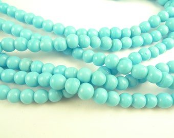 "36"" strand bright tribal turquoise rounds spacers glass trade beads components"