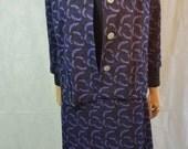 60s Vintage Purple Big Button Textured Mod Pencil Skirt Suit.