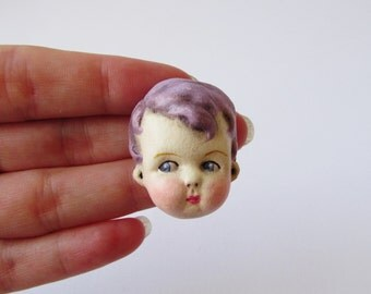 Antique Doll Pin - Purple Haired Boy Doll Face Brooch Teddy
