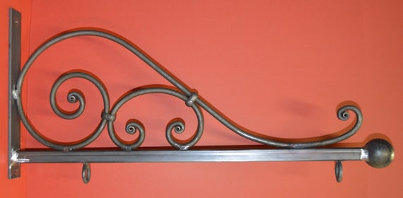 Wrought Iron 32 In Scroll Sign Bracket Holder By