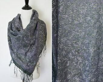 Vintage Large Cotton Black and Purple Gypsy Scarf- Bohemian Floral sash- ladies fringed boho shawl