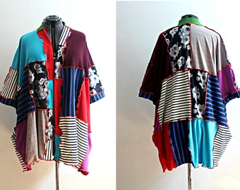 Upcycled Kimono Colorblock Striped Funky Bohemian Cardigan with Pockets Patchwork Recycled Clothing Size Extra Large 1x Plus Size