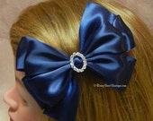 """Many Colors!  Double Satin 5"""" Hair Bow w/ Rhinestone Charm - Dressy Satin Special Occasion RoseyBow® - Choose Charm Shape & Ribbon Color"""