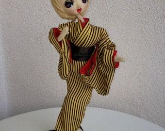 "Vintage Japanese big eye Doll kimono blonde hair 11.5"""