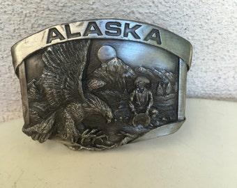 Vintage Siskiyou brass belt buckle of Alaska 1984 3D eagle and pan for gold
