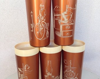 Vintage NFC thermo tall cups copper old fashion scenes set 5 8oz