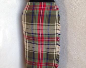 Vintage plaid wrap skirt by Lizsport cotton mid calf sz 6 tans greens