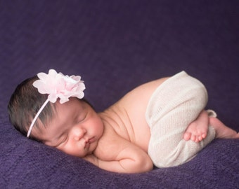 Pink headband, infant headband, Baby Headband- Baby Pink Chiffon Flower Baby Headband on Skinny Elastic