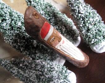 Hand Carved Wood Santa, Stick Santa, Natural Live Bark Edge, Twig Santa, Hand Painted, Ornament, Figurine