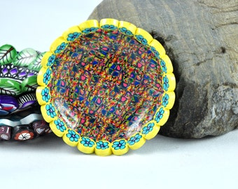 Bowl, Yellow Trimmed Geometric Polymer Clay