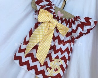 Garnet and Gold Peasant Dress with Bow