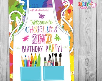 Paint Party Sign or Backdrop, Art Party Decorations, Printable Art Party Poster, Art Birthday Party, Painting Arts and Craft Party Sign