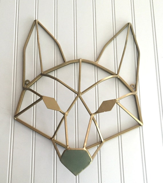 Geometric Metal Wall Decor : Geometric gold fox metal wall art by countrygirlmarket