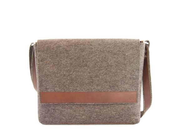 Mens MESSENGER BAG / felt and leather messenger bag / mens satchel / messenger bag for men / mens bag / mens felt satchel / made in Italy