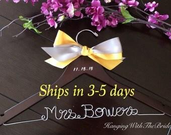 3 DAYS SALE---Rush order, Custom wire hanger, wedding hanger, name hanger, bridal hanger, wire hanger, personalized hanger