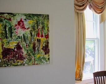 Rain In The Backyard Original Painting -- Flowers Garden Rain Acrylic Impressionist