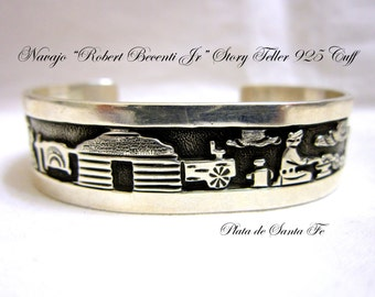 "Picturesque Navajo Story Teller 925 Cuff by Navajo""ROBERT BECENTI,JR.""   5/8"""