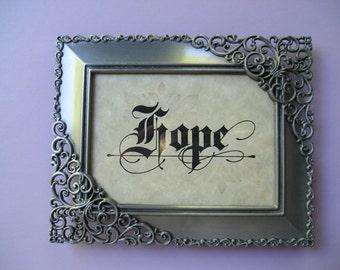 Hope -  Original Decorative Calligraphy Framed Table Top Decor