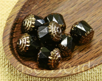10pc 10mm Black and GOLD Beads 10mm Czech Fire Polish Round Cathedral Acorn Glass beads 10mm