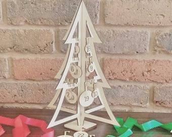 Wooden Advent Calendar Kit, Christmas Advent Calendar, Reusable Advent Calendar, Hanging Bauble Advent Calendar, Laser Cut Wood