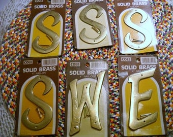 Vintage Brass Letters, Nos 4 Inch Solid Brass Letters, Architectural Hardware, 5 Letters, 4 Inch Nail on Letters , Craft Letters S E W