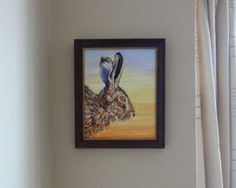 """Sunrise Hare Original Mixed Media Oil Painting - Twitch -  professionally framed original hare painting on a 8"""" x 10"""" oil board"""