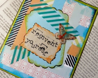 "ALL OCCASION CARD Blank Inside ""Reinvent Yourself"" Butterfly Aqua Blue Orange Green Black"