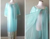 Blue Peignoir Nightgown Robe Set Vintage 60s Sheer Lace Maxi Length Sleepwear Womens Size S/M Small Medium Pin Up Girl Retro 1960s Pajamas