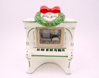 Vintage Piano Music Box Ceramic Christmas Music Box Decoration Santa Claus Is Coming To Town