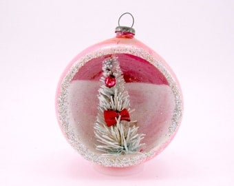 Pink Vintage Mercury Glass Diorama Christmas Holiday Ornament 1950s Japan