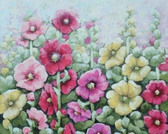 original hollyhocks painting, hollyhock canvas art, cottage flower garden art , cottage flowers canvas painting, colorful flower art