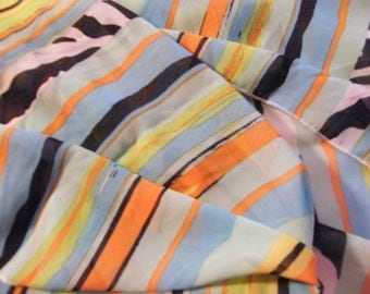 Zebra Bright Stripe Chiffon Infinity Wrap Scarf Made in Victoria, BC, Canada.  Great gift for moms sisters friends daughters. Trade On.