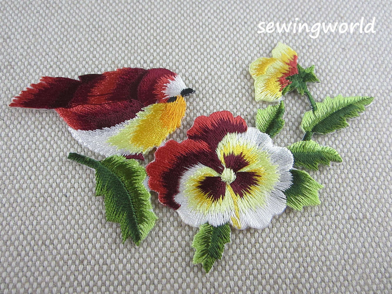 Iron on Patch Bird Flower Patch Embroidered Patch for Jeans