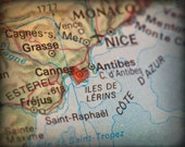 8x10 MAP of CANNES France with a Heart Shape with a Grunge Vintage Border - 8x10 Photograph