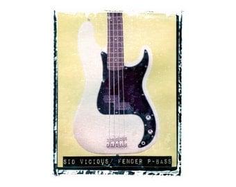 Sid Vicious Sex Pistols bass guitar art print / music gift / rock n roll art / music room decor / guitar gift / man cave art