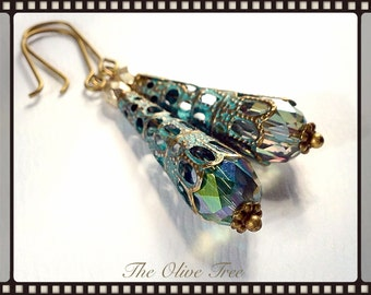 Medium Drop Earrings Antique Patina Filigree Earrings Victorian Crystal Teardrop Earrings - Steampunk Earrings - Bohemian Earrings