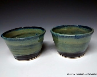 Ceramic Bowls - Handmade Pottery - Set of 2 Stoneware Dessert Bowls - Green