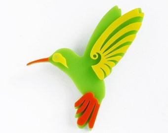 Hummingbird Brooch, acrylic designer handmade accessories