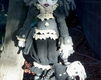 Pattern for  Drusilla and Raven Raggedy  Lottie ragdoll doll knitted doll