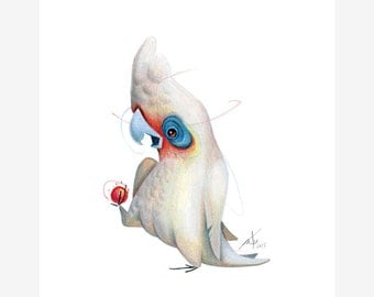 Little Corella Bird Print A5 Cockatoo
