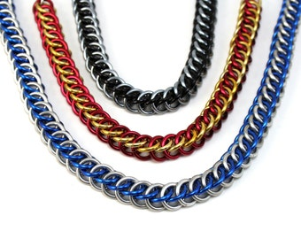 Custom Serpent Chainmail Necklace - Double Color Metal Chainmaille Necklace for Men Women