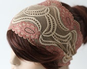 Beige and Soft Rose Pink Lace Wide Stretch Lace Headband Pink Flowers Traditional Head Covering Womens Headband Hair Accessory Gift for Her