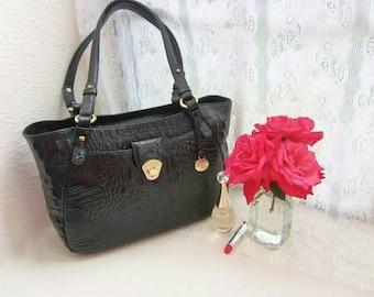 Vintage Black Alligator Embossed Leather Large Zipper Purse, tote bag, bono bag, leather purse, vintage purse, big purse